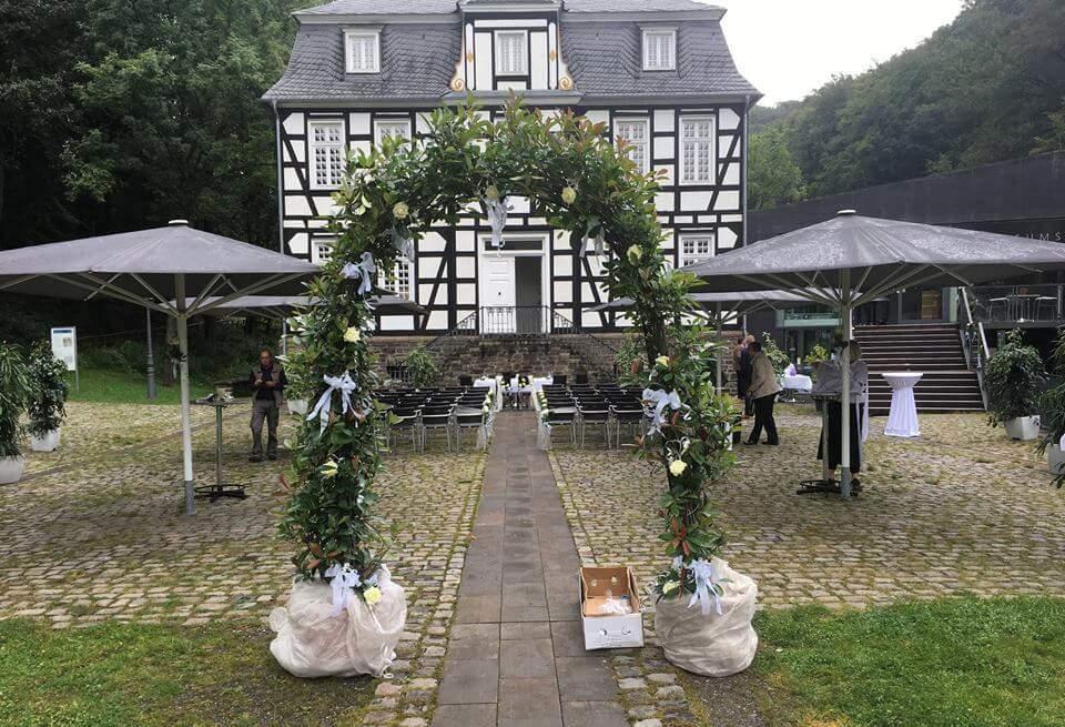 Hochzeitsdekoration Freilichtmuseum Hagen Museumsterrassen